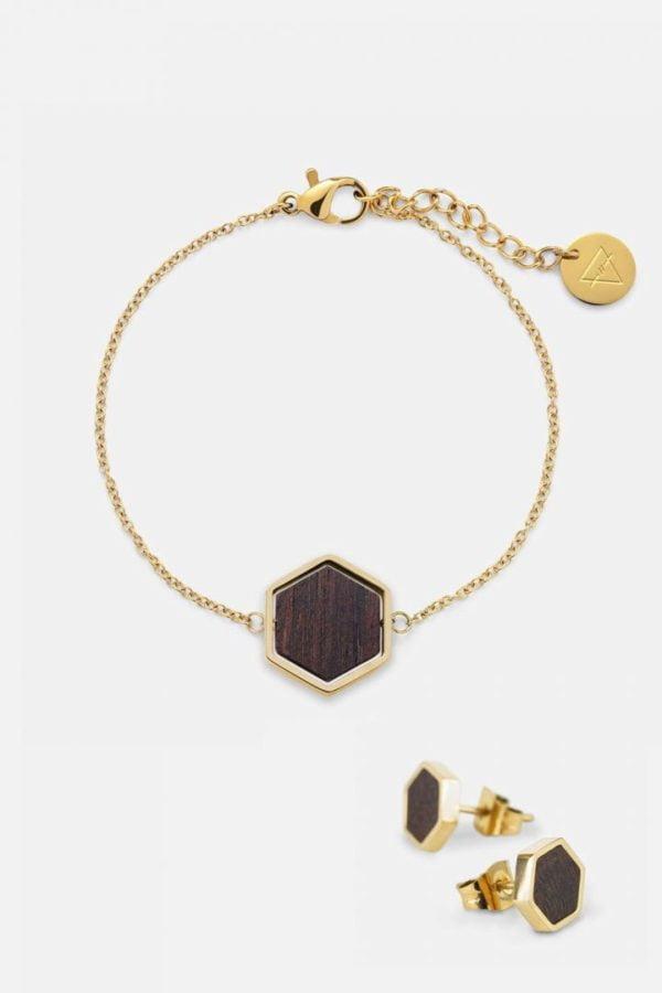 Schmuck Schmuckset Hexa Armband Ohrring - Sandalwood Shiny Gold von Kerbholz