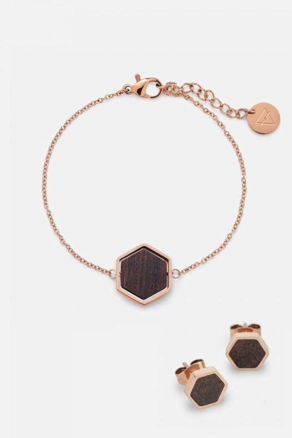 Schmuck Schmuckset Hexa Armband Ohrring - Sandalwood Shiny Rosegold von Kerbholz