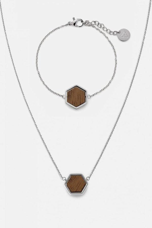 Schmuck Schmuckset Hexa Halskette Armband - Walnut Shiny Silver von Kerbholz