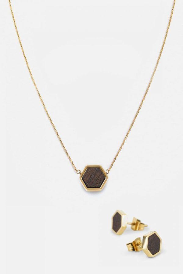 Schmuck Schmuckset Hexa Halskette Ohrring - Sandalwood Shiny Gold von Kerbholz