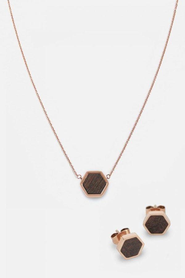 Schmuck Schmuckset Hexa Halskette Ohrring - Sandalwood Shiny Rosegold von Kerbholz