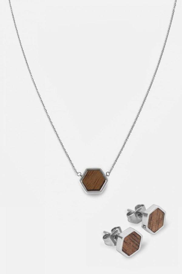 Schmuck Schmuckset Hexa Halskette Ohrring - Walnut Shiny Silver von Kerbholz