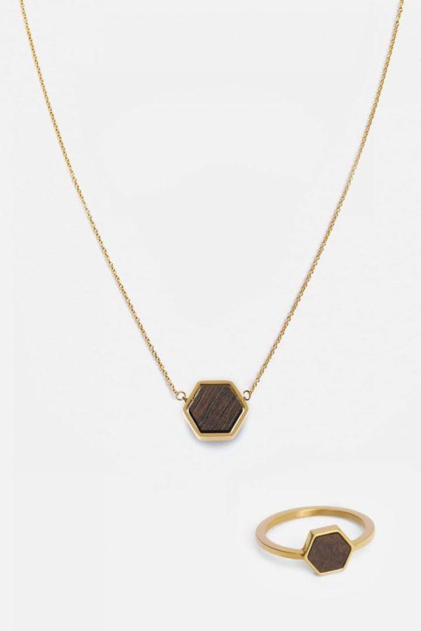 Schmuck Schmuckset Hexa Halskette Ring - Sandalwood Shiny Gold von Kerbholz