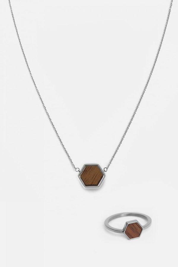 Schmuck Schmuckset Hexa Halskette Ring - Walnut Shiny Silver von Kerbholz