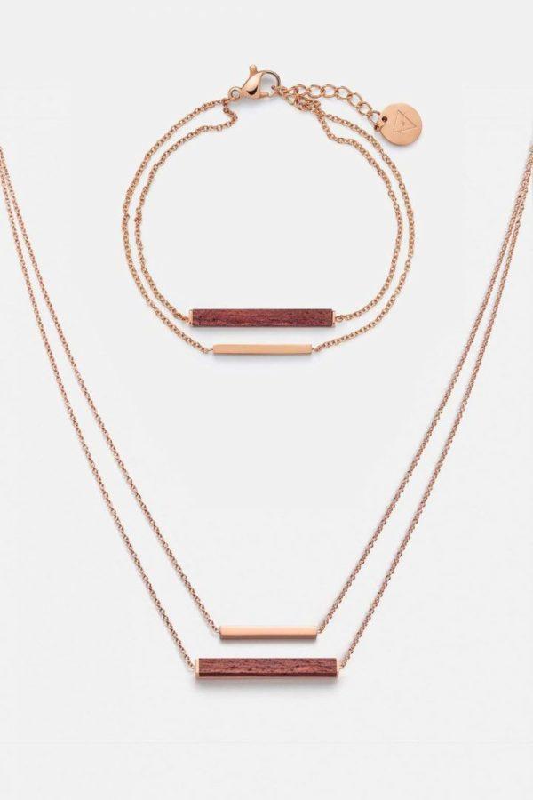 Schmuck Schmuckset Rectangle Halskette Armband - Rosenholz Rosegold von Kerbholz