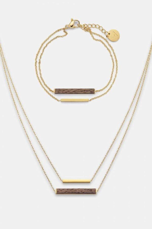 Schmuck Schmuckset Rectangle Halskette Armband - Walnuss Gold von Kerbholz