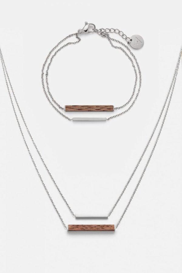 Schmuck Schmuckset Rectangle Halskette Armband - Walnuss Silber von Kerbholz