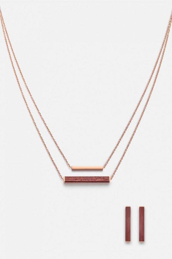 Schmuck Schmuckset Rectangle Halskette Ohrring - Rosenholz Rosegold von Kerbholz