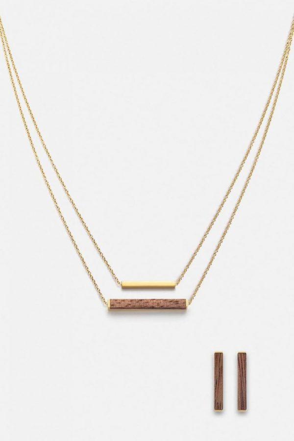 Schmuck Schmuckset Rectangle Halskette Ohrring - Walnut Gold von Kerbholz
