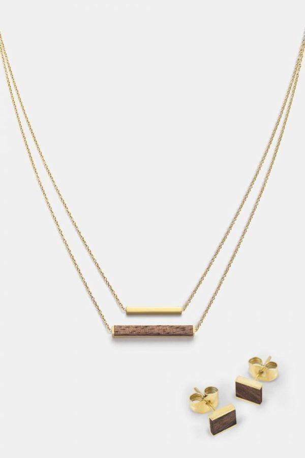 Schmuck Schmuckset Square Ohrring Rectangle Halskette - Walnuss Gold von Kerbholz