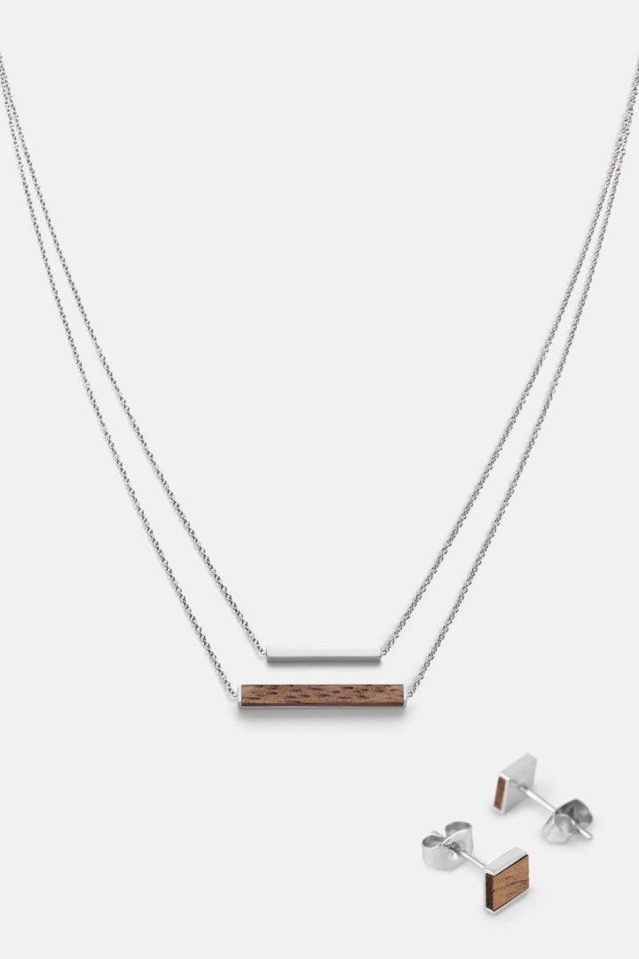 Schmuck Schmuckset Square Ohrring Rectangle Halskette - Walnuss Silber von Kerbholz