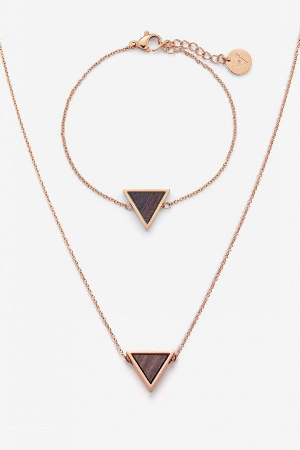 Schmuck Schmuckset Triangle Halskette Armband - Sandelholz Rosegold von Kerbholz
