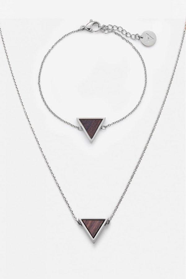 Schmuck Schmuckset Triangle Halskette Armband - Sandelholz Silber von Kerbholz