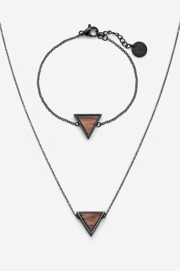 Schmuck Schmuckset Triangle Halskette Armband - Walnuss Schwarz von Kerbholz