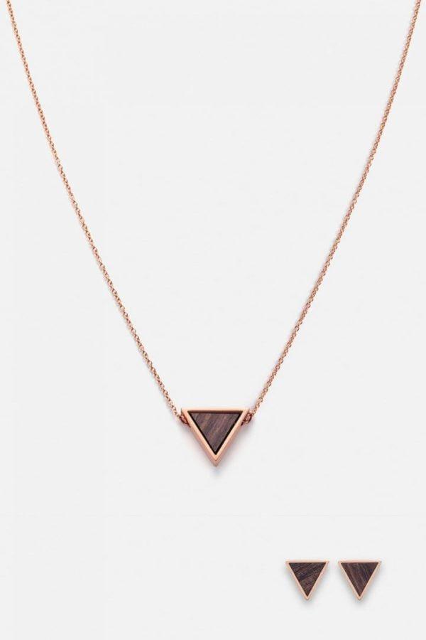 Schmuck Schmuckset Triangle Halskette Ohrring - Sandelholz Rosegold von Kerbholz