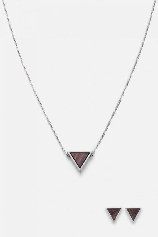Schmuck Schmuckset Triangle Halskette Ohrring - Sandelholz Silber von Kerbholz