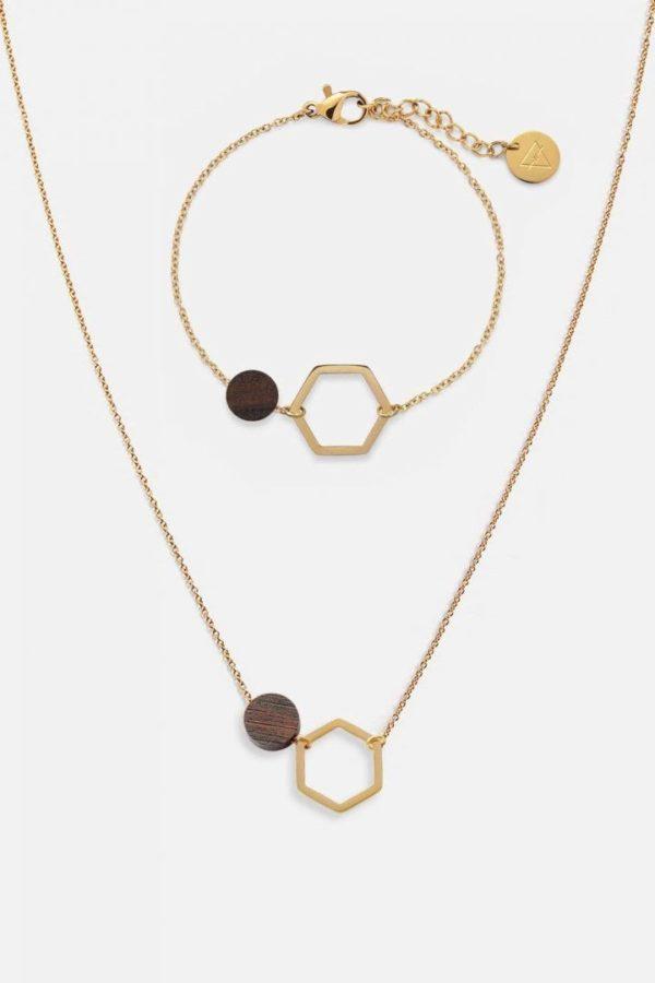 Schmuck Schmuckset Twin Halskette Armband - Sandalwood Shiny Gold von Kerbholz