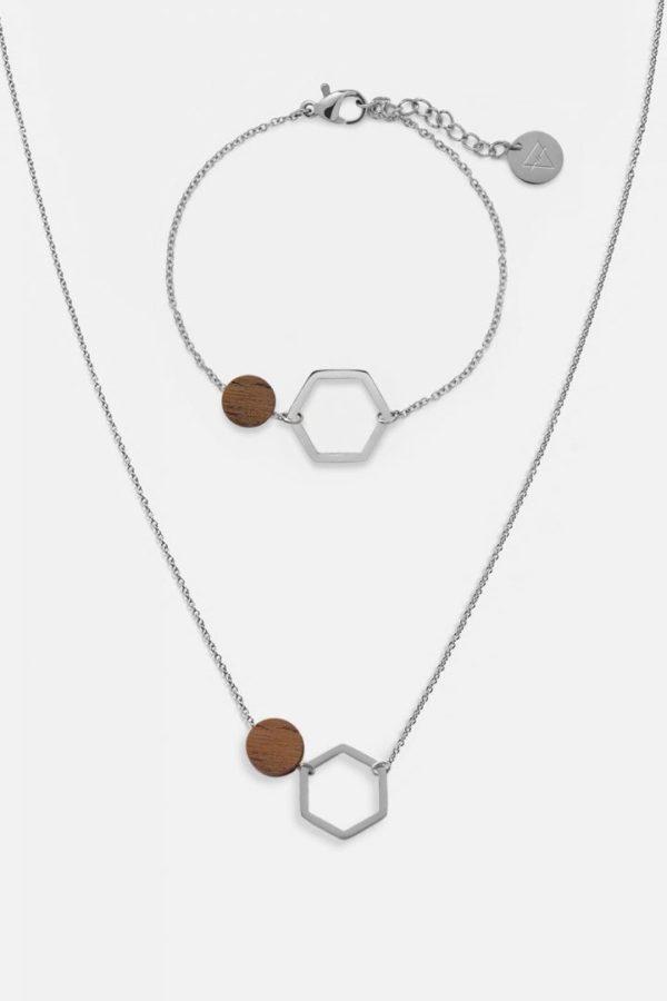 Schmuck Schmuckset Twin Halskette Armband - Walnut Shiny Silver von Kerbholz