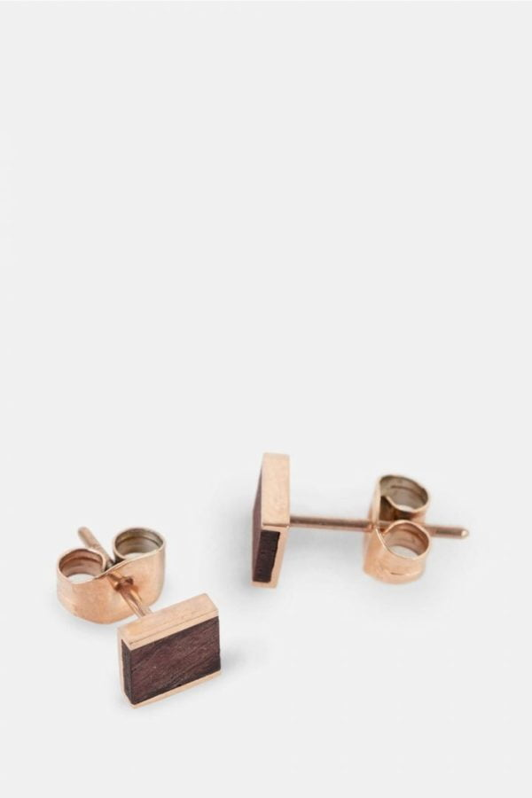 Schmuck Square Earring - Rosewood Shiny Rosegold von Kerbholz