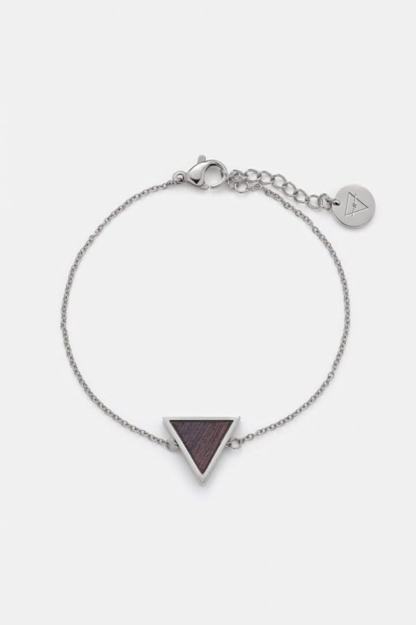 Schmuck Triangle Bracelet - Sandalwood Shiny Silver von Kerbholz