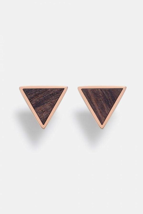 Schmuck Triangle Earring - Sandalwood Shiny Rosegold von Kerbholz