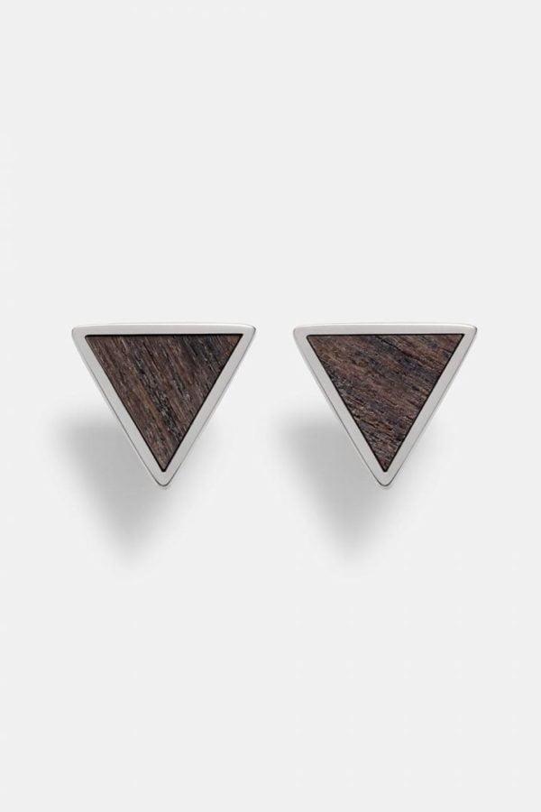 Schmuck Triangle Earring - Sandalwood Shiny Silver von Kerbholz