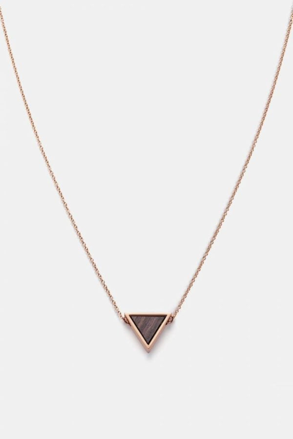 Schmuck Triangle Necklace - Sandalwood Shiny Rosegold von Kerbholz