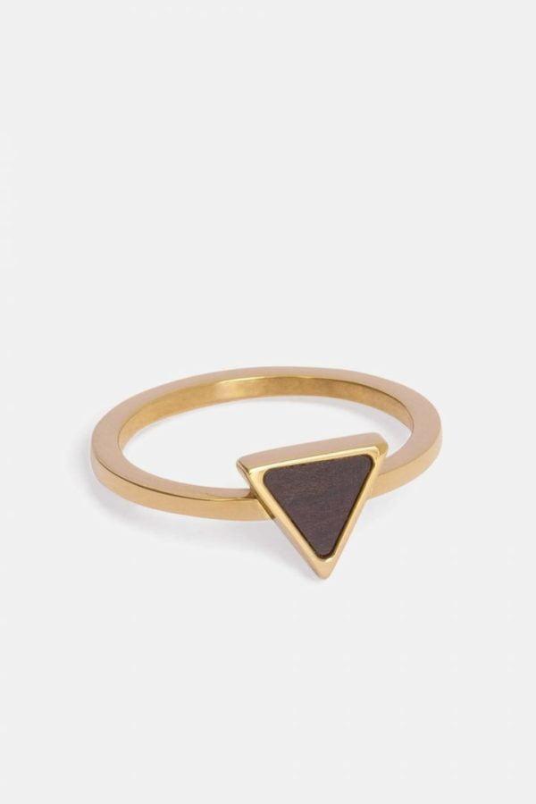 Schmuck Triangle Ring - Gold von Kerbholz