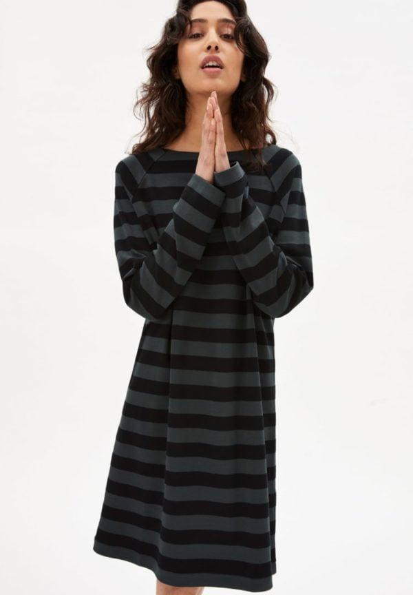 Kleid Danikaa Stripe In Vintage Green-black von ArmedAngels