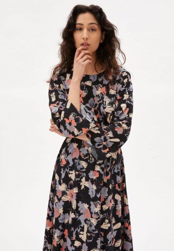 Kleid Elmaa Blotched Blooms In Black von ArmedAngels