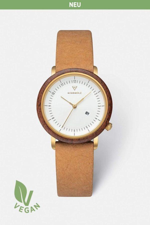Uhr Carla Vegan - Walnut Mustard von Kerbholz