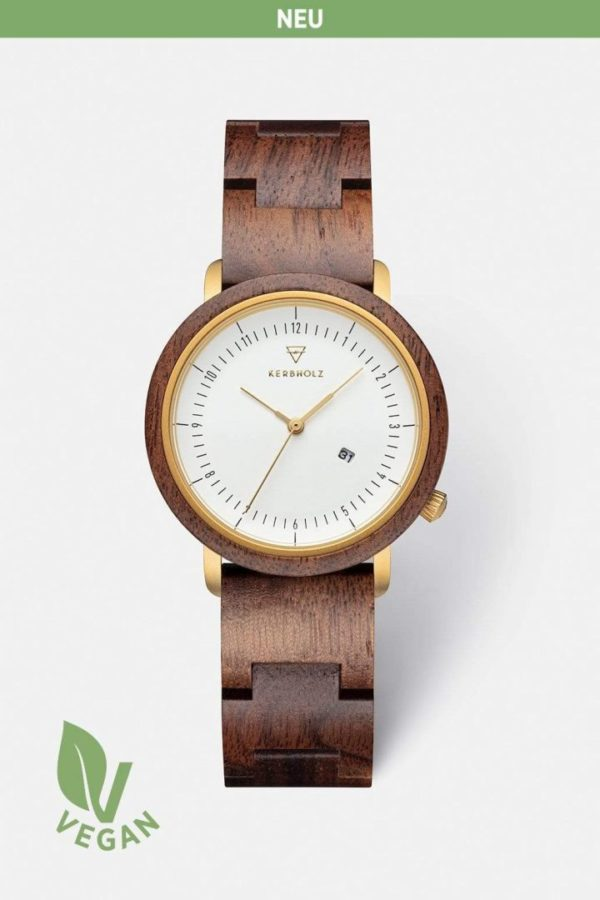 Uhr Carla Vegan Wood - Walnut Wood von Kerbholz