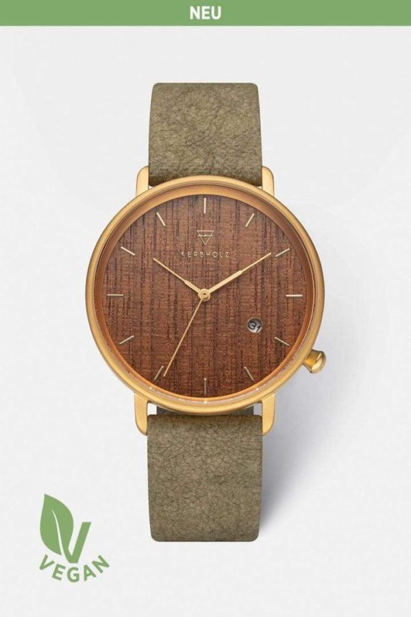Uhr Tilda Vegan - Walnut Olive von Kerbholz